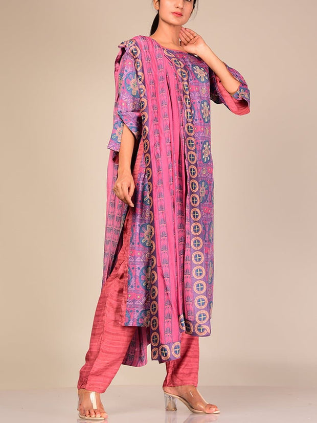 Purple Kurta Set With Chiffon Dupatta