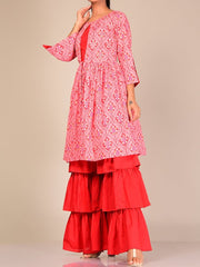 Pink And Red Silk Blend Sharara Set