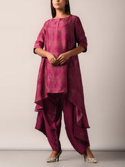 Kurta set, Kurta, Asymmetric, Silk, Printed, Silk pant set, Geometrical, Light weight