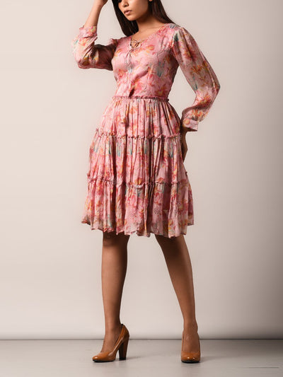 Blush Pink Chiffon Printed Asymmetric Dress