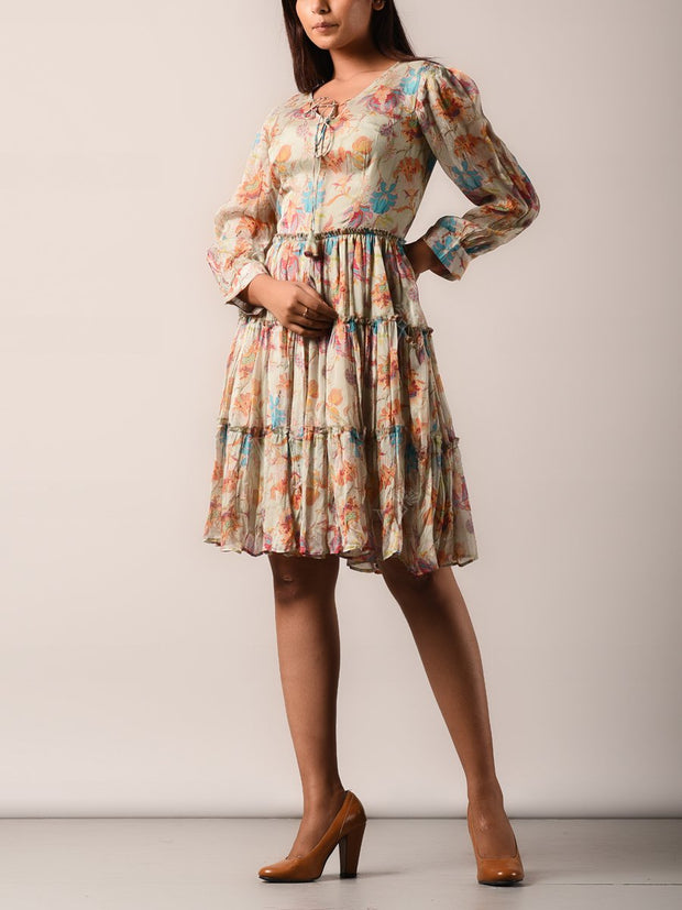 Beige Chiffon Printed A Line Dress