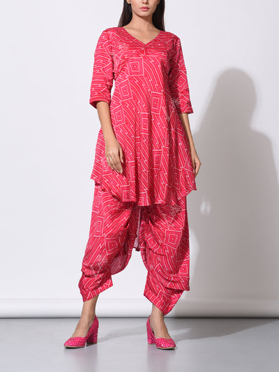 Coral Printed Cowl Pant With U Cut Tunis