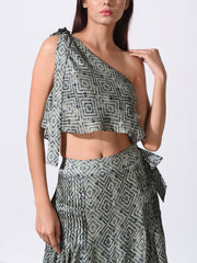 Bottle Green Printed Gathered Palazzo With One Shoulder Top