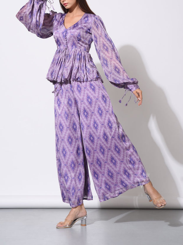 Lavender Purple Printed Palazzo With Statement Top