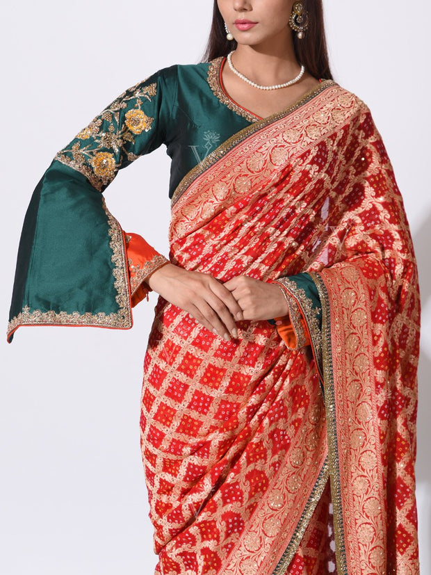 Red Pure Georgette Zari Weaving Saree
