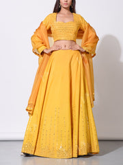 Corn Yellow Mirror Work Lehenga Set