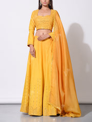 Lehenga, Lehengas, Peplum, Traditional, Traditional wear, Mirror work, Embroidered, Embellished, Chanderi silk, Organza, Party wear, Light weight
