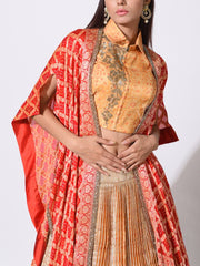 Golden Yellow Crushed Lehenga With Zari Bandhani Cape