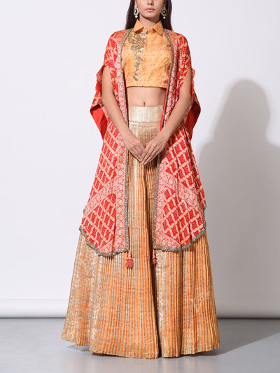 Lehenga, Lehengas, Indo western, Party wear, Light weight, Designer wear, Silk, Georgette, Cape, Shrug, Jacket, Zari Bandhani, Traditional, Indo western