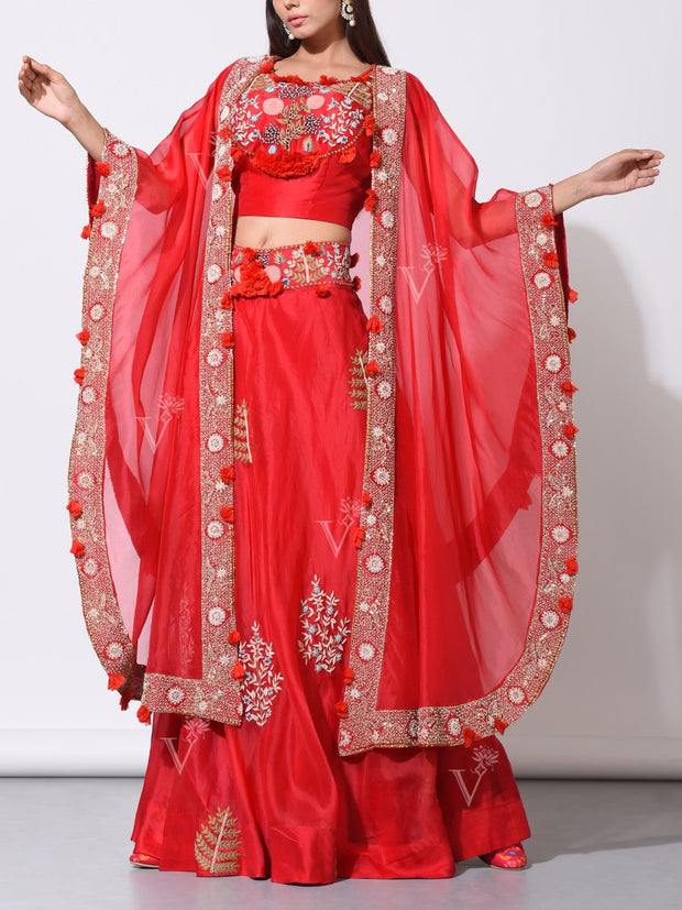 Red Organza Lehenga With Embroidered Jacket