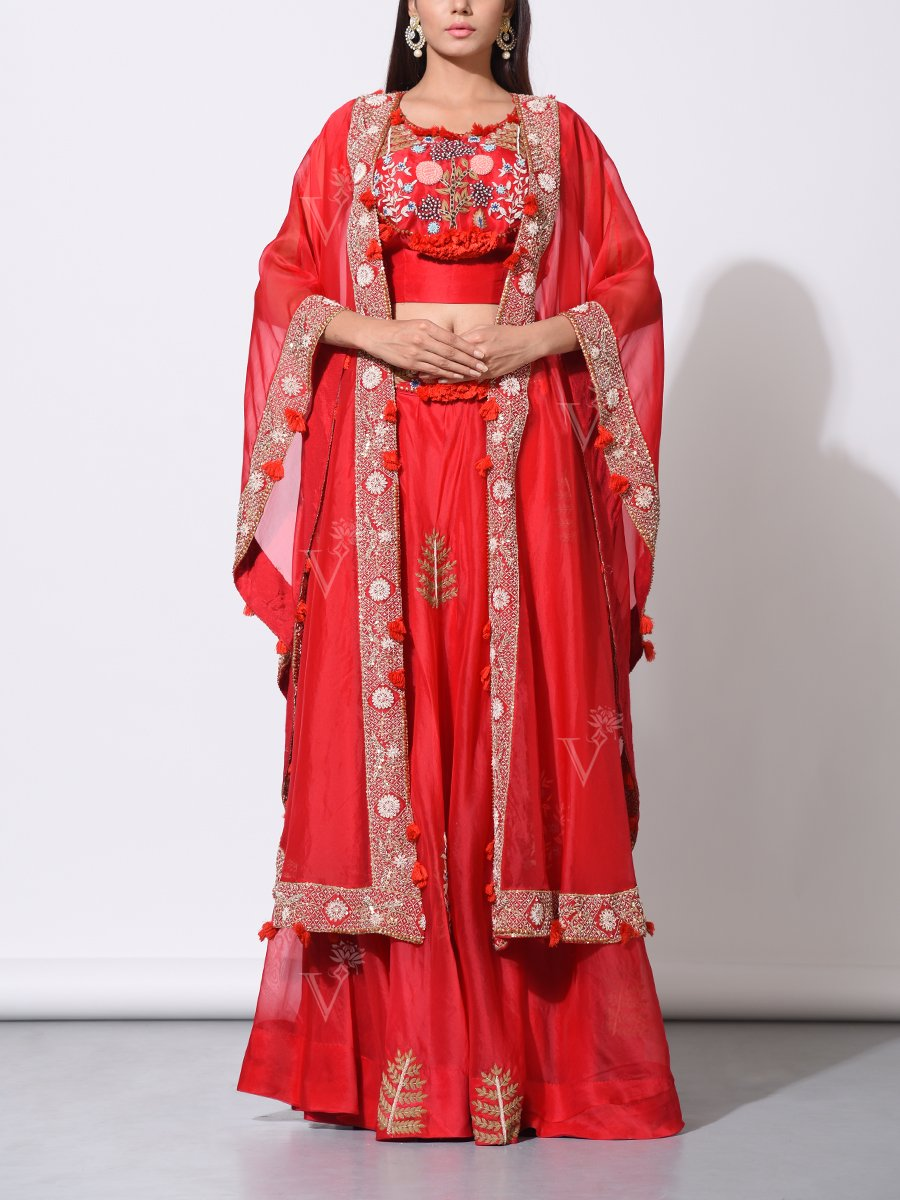 Red Organza Lehenga with Beautiful Embroidered Jacket