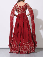 Red Embellished Statement Sleeves Evening Gown