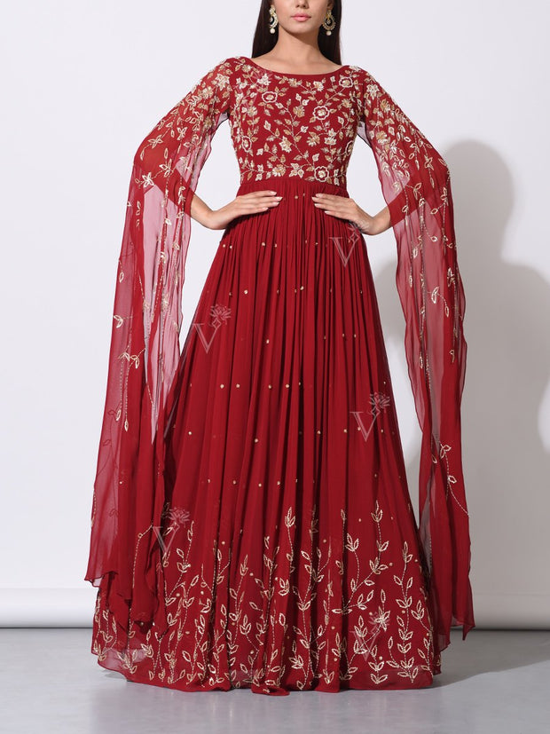 Gown, Gowns, Anarkali, Anarkalis, Embellished, Embroidered, Statement sleeves, Organza, Party wear, Designer wear, Evening wear