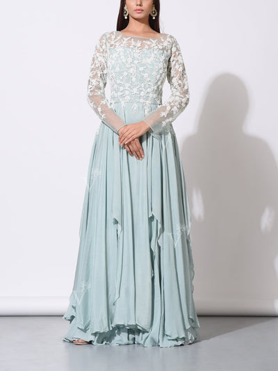 Gown, Gowns, Anarkali, Anarkalis, Embellished, Embroidered, Crepe, Net, Party wear, Designer wear, Evening wear