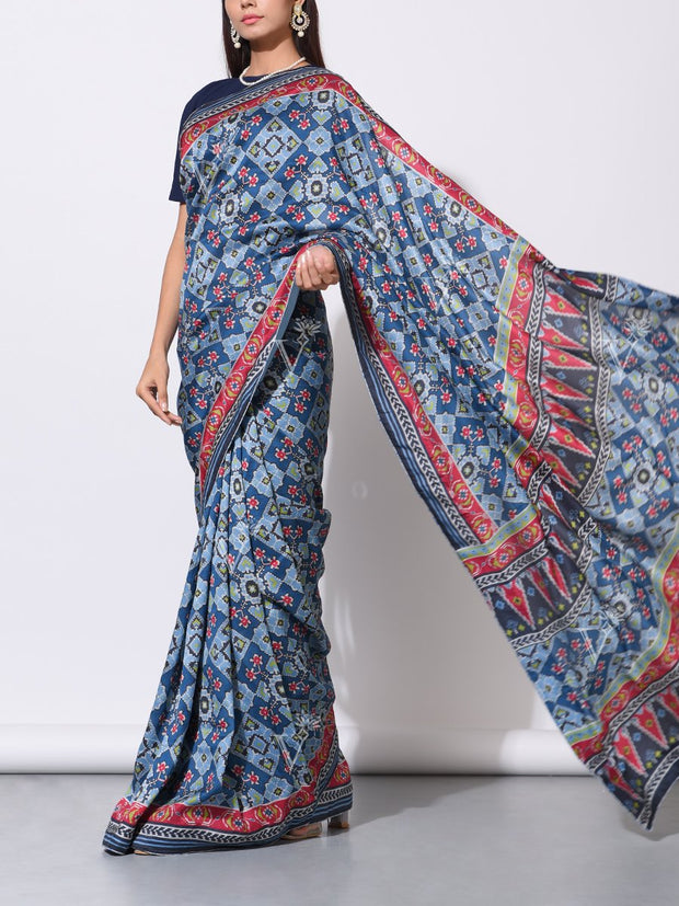 Blue Vasansi Silk Patola Saree