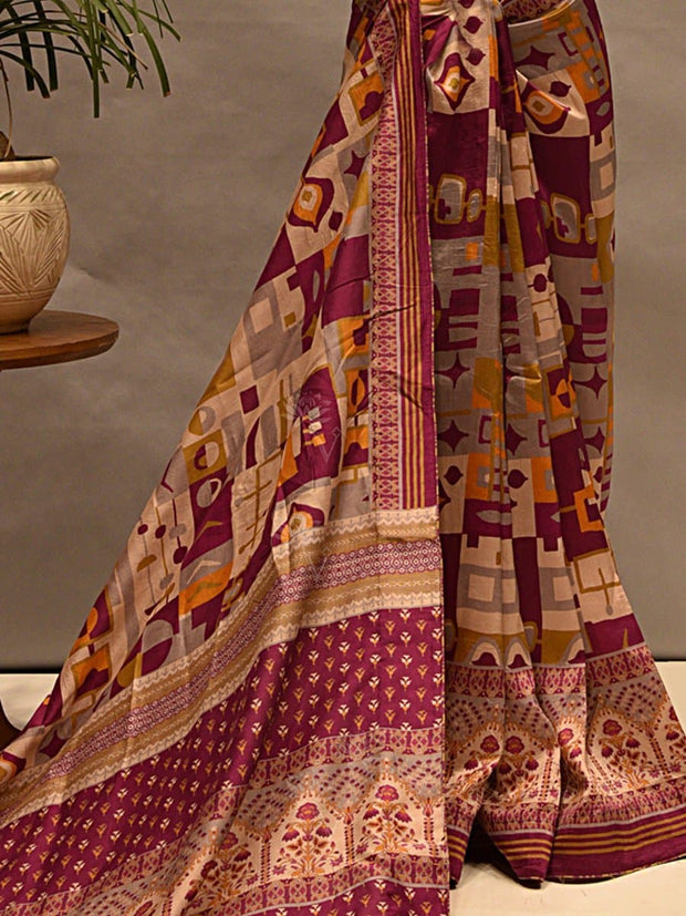 Printed Vasansi Silk Saree