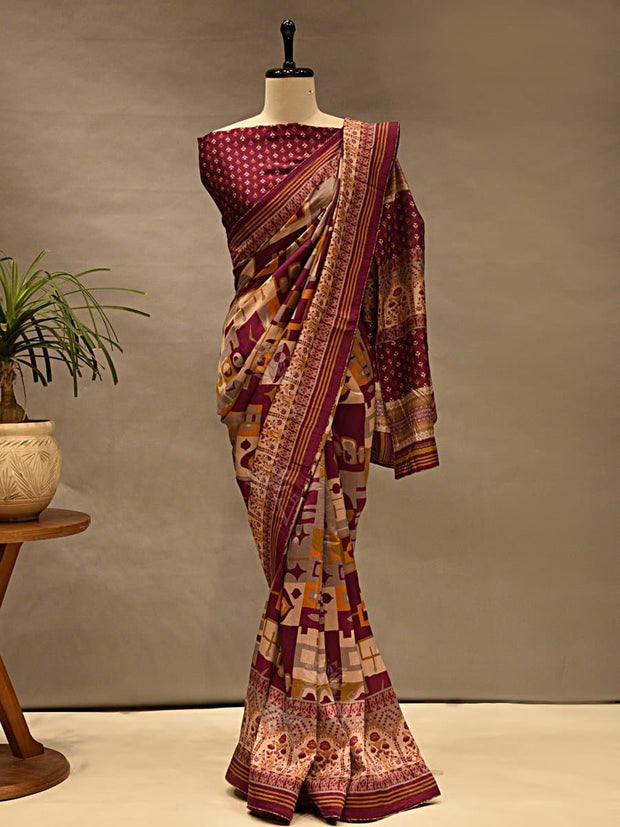 Saree, Sarees, Printed, Silk, Silk Sarees, Regular Wear
