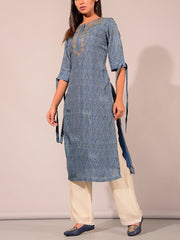 Blue Printed Embroidered Kurti