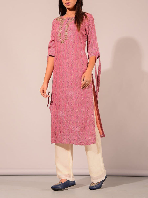 Pink Printed Embroidered Kurti