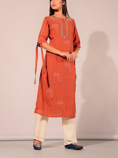 Mustard Printed Embroidered Kurti
