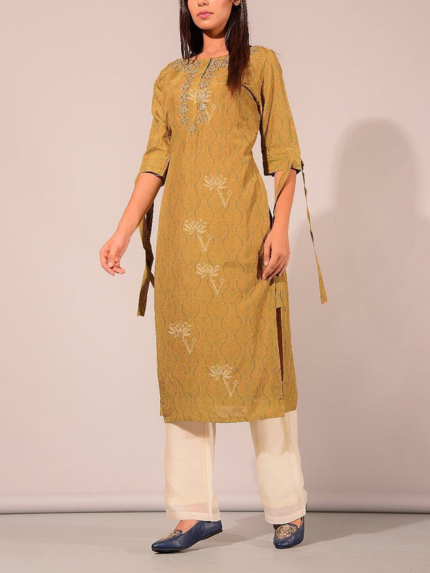 Green Printed Embroidered Kurti