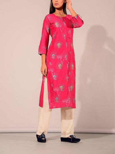 Pink Print Highlighted Kurti