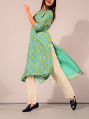 Green Print Highlight Kurti