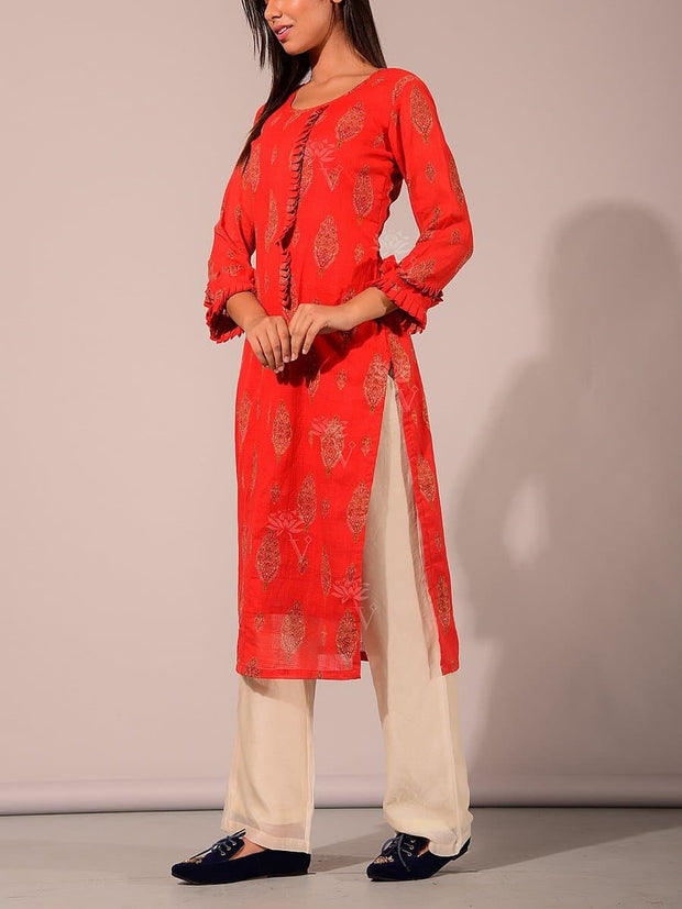 Burnt Orange Cotton Kurti