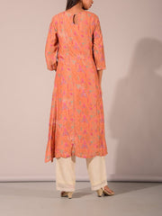 Peach Cotton Silk Printed Kurti