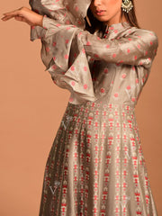 Grey Vasansi Silk Printed Anarkali Gown