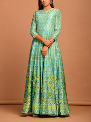 Sea Green Vasansi Silk Printed Anarkali Gown