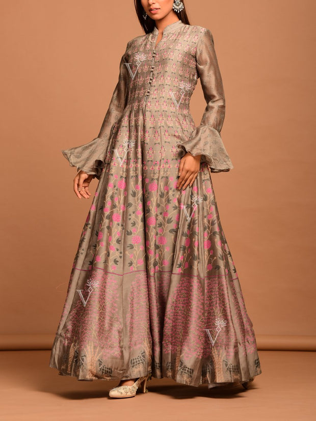 Steel Grey Vasansi Silk Printed Anarkali Gown