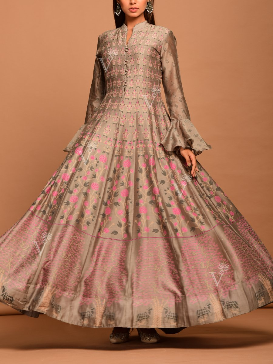 Steel Grey & Pink Anarkali Suit with Lovely Floral Print