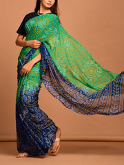 Green-Blue Georgette Bandhani  Saree