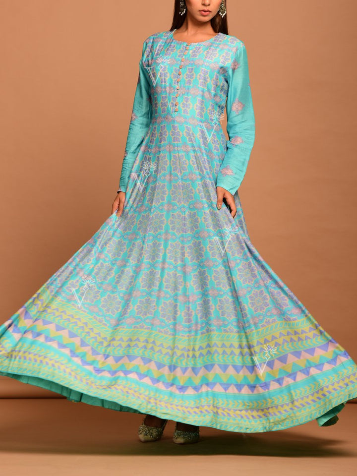 Turquoise Blue Silk Anarkali Suit in Elegant Print