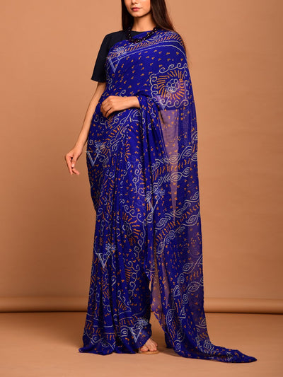 Saree, Sarees, Georgette, Bandhani, Printed, Bandhej, Rajasthani, Jaipuri, Light weight, Regular wear