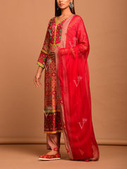 Brown Ruby Red Printed Patola Suit Set