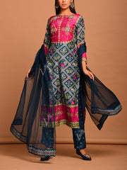 Persian Blue And Steel Grey Printed Patola Suit Set