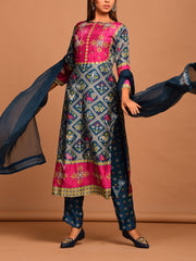 Persian Blue And Steel Grey Printd Patola Suit Set