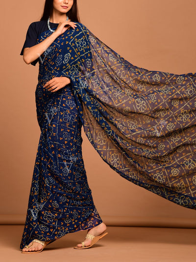 Midnight Blue Geroegette Bandhani Saree