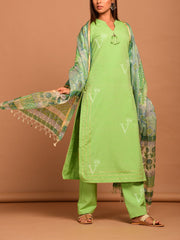 Light Green Handloom Shramdan Cotton Suit Set