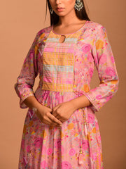 Onion Pink Bird And Floral Printed Kurta Set