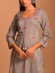Steel Grey Cotton Printed Kurti