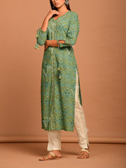 Dusty Green Sanganeri Printed Kurta