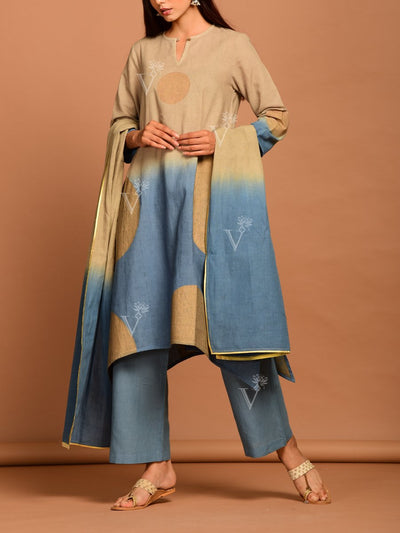 Beige And Blue Linen Suit Set