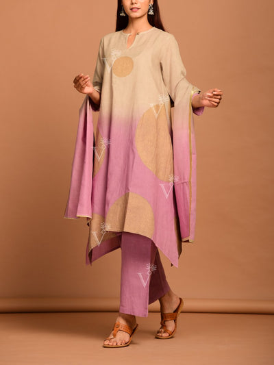 Beige And Lavender Linen Suit Set