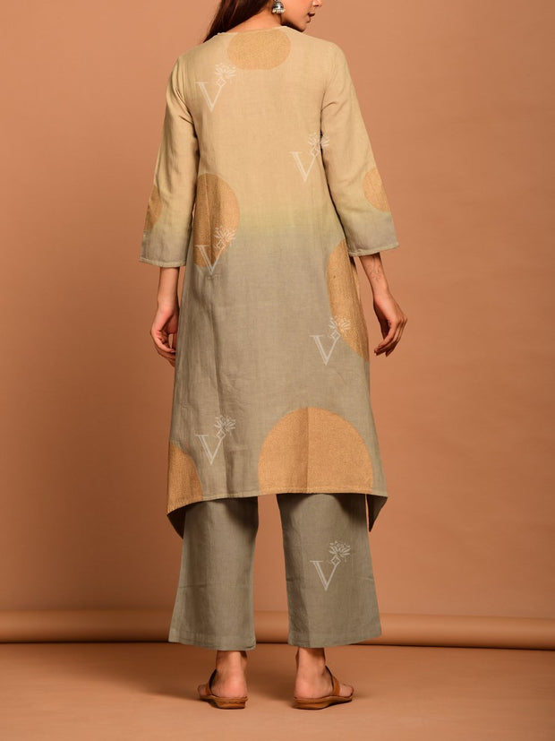 Beige And Grey Linen Suit Set