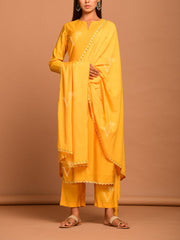 Mango Yellow Polka Dot Silk Printed Suit Set