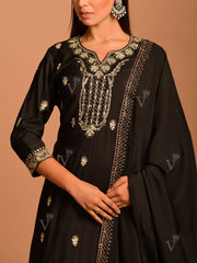 Black Embroidered Sharara Kurti