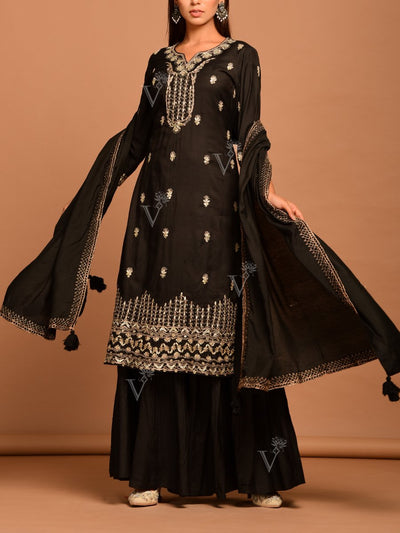 Black Embroidered Sharara Suit Set